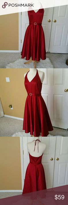 Red Evening Halter Dress Red Evening Halter Dress.  Ties around the neck. Removable belt with rhinestones buckle. Balloon skirt. Nice blue red. Classic and Elegant.  Back zip closure.  100% polyester.  Satiny finish. Nice blue red. Stunning! Midi length. Alex Evenings Dresses Prom