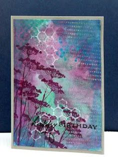 Distress inks, Unity stamp Wayword blooms, a crafters workshop template and some spatters with Twinkling H2O's: