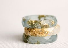 overcast blue thin multifaceted eco resin ring  by RosellaResin, $50.00