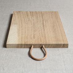 joy of little things - chopping board:  oak + leather + brass