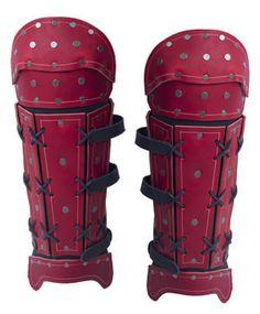 Samurai Leather Greaves - Red Samurai Armor Diy, Samurai Costume, Ronin Samurai, Samurai Weapons, Costume Armour, Samourai Tattoo, Armadura Cosplay, Leather Bracers, Armas Ninja