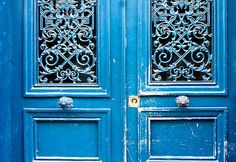 Paris Photography - Blue Doors in Paris, France Photograph - French Home Decor - Monaco Blue. via Etsy. Green Front Doors, Front Door Colors, Blue Doors, Paris Home Decor, French Home Decor, Teacher Door Decorations, Hall Of Mirrors, Chandelier, Glass Cabinet Doors