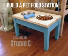 Plans For an Easy Pet Food Station Why should pets be left out of the furniture loop? Build a super-cool pet food station to elevate your favorite furry friend's dishes! The height for this p…