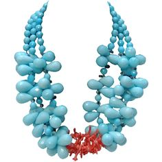 Helga Wagner Aqua and Coral Necklace ❤ liked on Polyvore