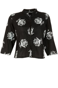 Black rose print short jacket BY MASABA Shop now at perniaspopupshop.com #perniaspopupshop #clothes #womensfashion #love #indiandesigner  #MASABA #happyshopping #sexy #chic #fabulous #PerniasPopUpShop #quirky #fun
