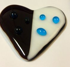 Fused glass heart, done by grades 7 & 8. full fuse first and then tack fuse second firing.
