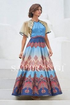 Blue Beautiful Indian Party Wear Silk Gown