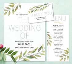 Simple and elegant watercolour leaf design. Edit the sample text with your own wedding details in Microsoft word