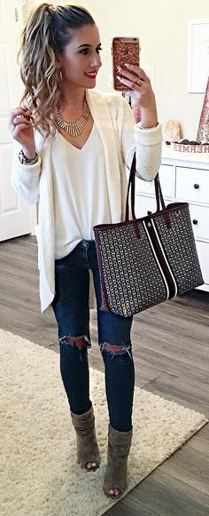 #winter #fashion /  White Cardigan / White V-neck Top / Printed Tote Bag / Ripped Skinny Jeans / Green Open Toe Suede Booties