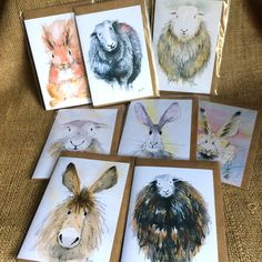 Pack of eight mixed greetings cards by HaresAndHerdwicks on Etsy