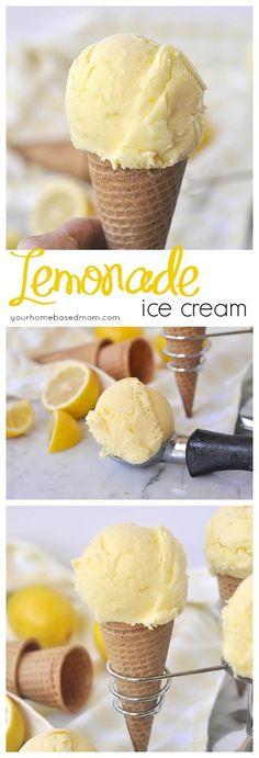 Lemonade Ice Cream ~ two favorite summer treats in one! | YourHomebasedMom.com: