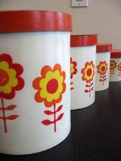 Mod canisters 1970s retro set of 4 hard plastic by fuzzandfu, $16.00