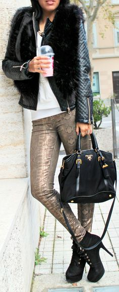 1 #Fur #Vest & #Python #Pants                     by Be Chic And Cheap