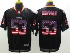 "$23.88 at ""MaryJersey"" (maryjerseyelway@gmail.com) #53 NaVorro Bowman - Nike 49ers Black Men Stitched NFL Elite USA Flag Fashion Jersey"