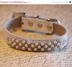 Pearl beaded dog Collar- Leather dog collar
