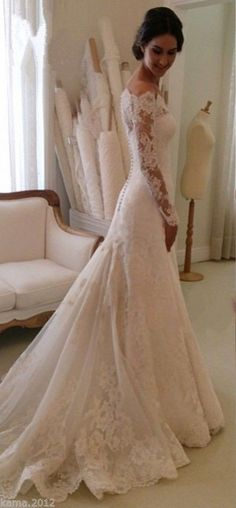 Lace Long Sleeves Mermaid Wedding Dresses Off Shoulder Elegant Bridal Dresses _Wedding Dresses 2016_Wedding Dresses_Buy High Quality Dresses from Dress Factory - Babyonlinedress.com