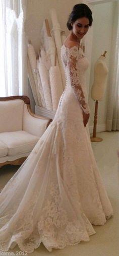 Lace Long Sleeves Mermaid Wedding Dresses Off Shoulder Elegant Bridal Dresses _Wedding Dresses 2016_Wedding Dresses_Buy High Quality Dresses from Dress Factory - Babyonlinedress.com
