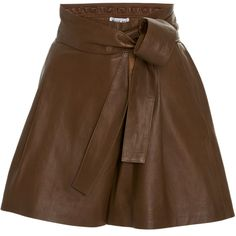 Apiece Apart Leather Isa Wrap Shorts (1,655 BAM) ❤ liked on Polyvore featuring shorts, skirts, brown, elastic waistband shorts, stretch waist shorts, apiece apart, brown shorts and leather shorts