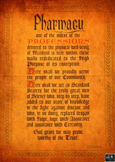 Cool old Oath of the Pharmacist. @Carrie Mcknelly Mcknelly Pritts