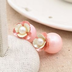 Double Faced Stud Earring, ABS Plastic Pearl, with Zinc Alloy, stainless steel post pin, Flower, gold color plated, with painted, more colors for choice, 14x16mm,china wholesale jewelry beads