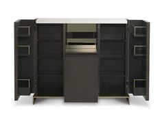 193005 // Objets Bar Cabinet (Open) Rift Cut Oak with Marble Top and Bronze Base
