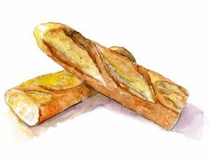 A painting of a baguette