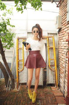 stylenanda, oxblood leather skirt