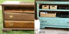 Turn old dresser into distressed tv stand