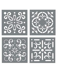 Mexican Tile Stencil Set Pack of Four 44 Tile Stencil Designs Wall or Floor Tile Stencils for Making Mosaic Tile Stencil Patterns from Walmart USA Wall Stencil Patterns, Stencil Designs, Tile Patterns, Wall Painting Patterns, Leaf Stencil, Stencil Painting, Painting Walls, Floor Painting, Stencil Diy