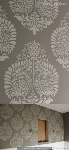 Paint: BM's Chelsea Gray. Stencil: Annapakshi Indian Damask Wall Stencil by Royal Design Studio.