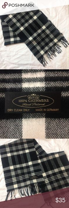 """100% cashmere hand tailored made in Germany scarf Lovely and soft to the touch, this 100% cashmere scarf will be sure to keep you warm this winter. In great condition from a smoke free home. Approx 64"""" x 11.5"""" made in Germany. Dry clean only. Accessories Scarves & Wraps"""