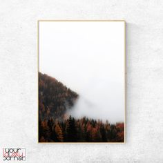 home decor, mountain digital print, wall art prints, living room decor, Foggy mountain wall art, modern wall art, landscape wall art print