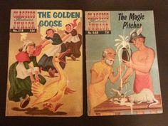 Classics-Illustrated-Junior-LOT-Of-2-518-The-Golden-Goose-548-Magic-Pitcher