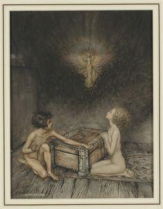 Pandora and Epimetheus Fine ink and watercolour drawing.  Art by Arthur Rackham.(1867-1939).