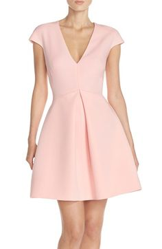 Halston Heritage Cutout Back V-Neck Fit & Flare Dress available at #Nordstrom