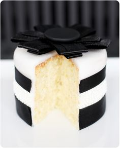 Black and White Stripe Chanel cake #chanel #cake...perfect for my Chanel themed 30th bday