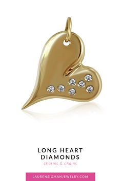 Our Long Heart with diamonds charm is such a beautiful piece. Its elongated heart with sparkling diamonds on one side is just breathtaking. Yellow Gold carats of white diamonds Lenth is Width is Polished LS Collection Diamond Heart, Jewelry Collection, Charms, Pendant, Gold, Accessories, Beautiful, Pendants, Yellow