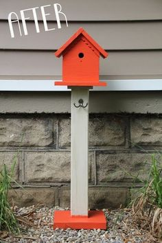 Coral Painted Birdhouse