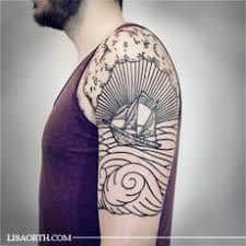 What does woodcut tattoo mean? We have woodcut tattoo ideas, designs, symbolism and we explain the meaning behind the tattoo. Line Art Tattoos, Line Work Tattoo, Tatoo Art, Body Art Tattoos, Girl Tattoos, Wave Tattoos, Tatoos, Arm Tattoo, Cover Tattoo