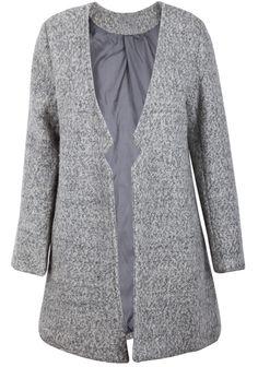 Grey Cut Out Neck Longline Wool-blend Coat - Sheinside.com