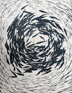 Denise Copland, All at sea – fish food II (2015), 1/1 woodblock, ink & graphite, 775x530mm $960