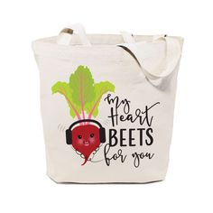 Cotton Canvas My Heart Beets for You Tote Bag