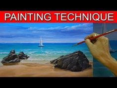 How to Paint a Simple Seascape in Basic Step by Step Acrylic Full Painting Tutorial by JM Lisondra - YouTube