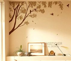big Tree with Flying Birds decor art vinyl wall by yitingsticker, $45.99