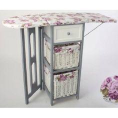 Mueble plancha madera blanco circulos muebles para - Mueble plancha plegable ...