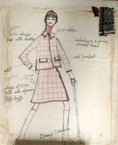 Bonnie Cashin Sketch- suit shown with swatch