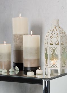 Shades of Light Pillar Candles in Taupe, Grey, and Ivory