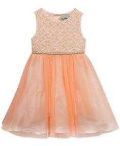 Rare Editions Embellished Basket Weave & Tulle Dress, Toddler & Little Girls (2T-6X) - Orange 6