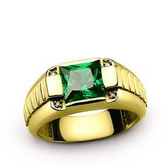 Dimaond Men's Ring 14K Yellow Gold with Green Emerald Gemstone, Genuine Diamonds Ring for Men #finejewelry #mensaccessories #mensjewelryshop #jewelsformen #mensbracelet #turquoise #diamondring