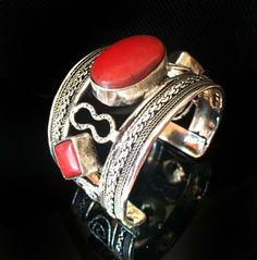 Red Coral bracelet,Nepal Cuff Bracelet,Silver Coral Cuff bracelet STATEMENT Jewelry Cuff Mens and Womens bracelet by  Taneesi by taneesijewelry on Etsy